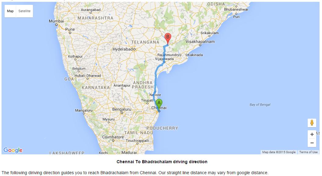 Chennai Direction Map on